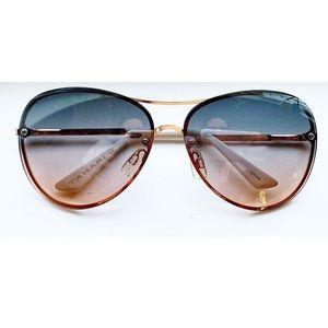 Chic rose gold rimless aviator sunglasses